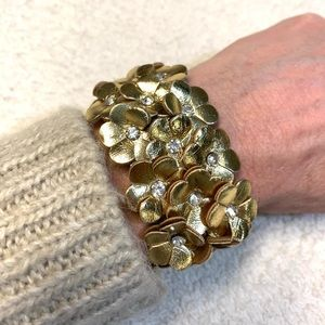 Gold floral jeweled leather cuff bracelet